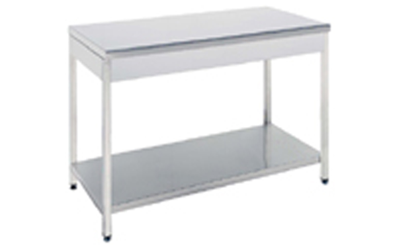 Stainless steel work table Open